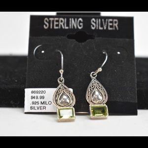 Rectangle Peridot Pear shaped earrings by Milo